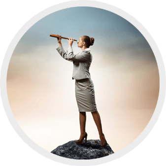 round image of woman looking out with telescope from hilltop