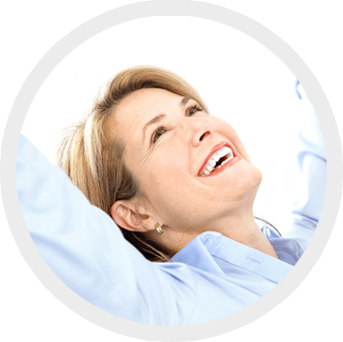 woman leaning back and smiling