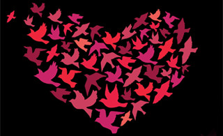 graphic of heart made from birds in flight
